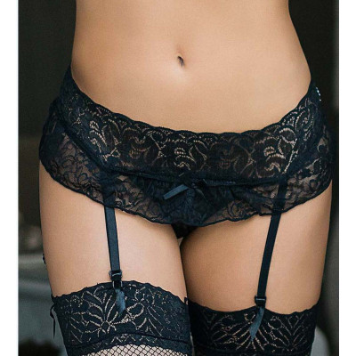 Plus Size Black Lace Garter with Crotchless String