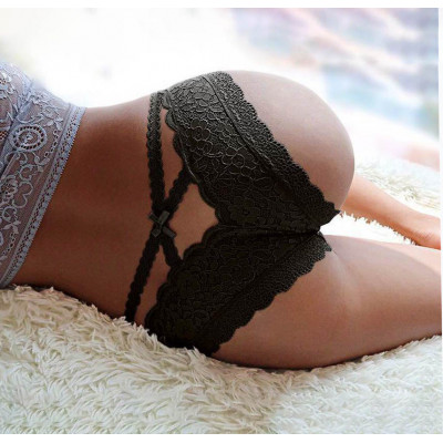 Black Lace Knickers with Straps