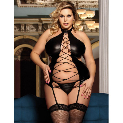 Plus Size Shiny Dress with Provocative Openings