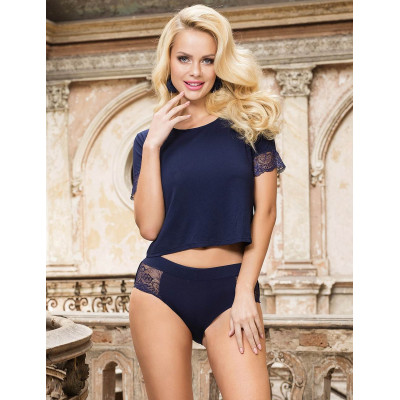 Plus Size Dark Blue Sleepwear