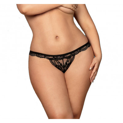 Plus Size Obsessive Fancy Lace Thong Black