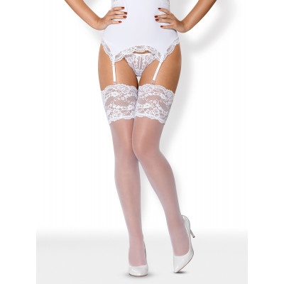 Obsessive High Lace Stocking White