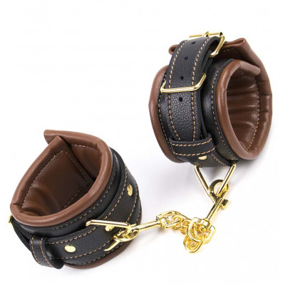 Brown Black Leather Padded Wrist Cuffs with Golden Chain