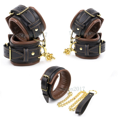 Bondage set with three Brown Ankle Wrist Collar with Leash